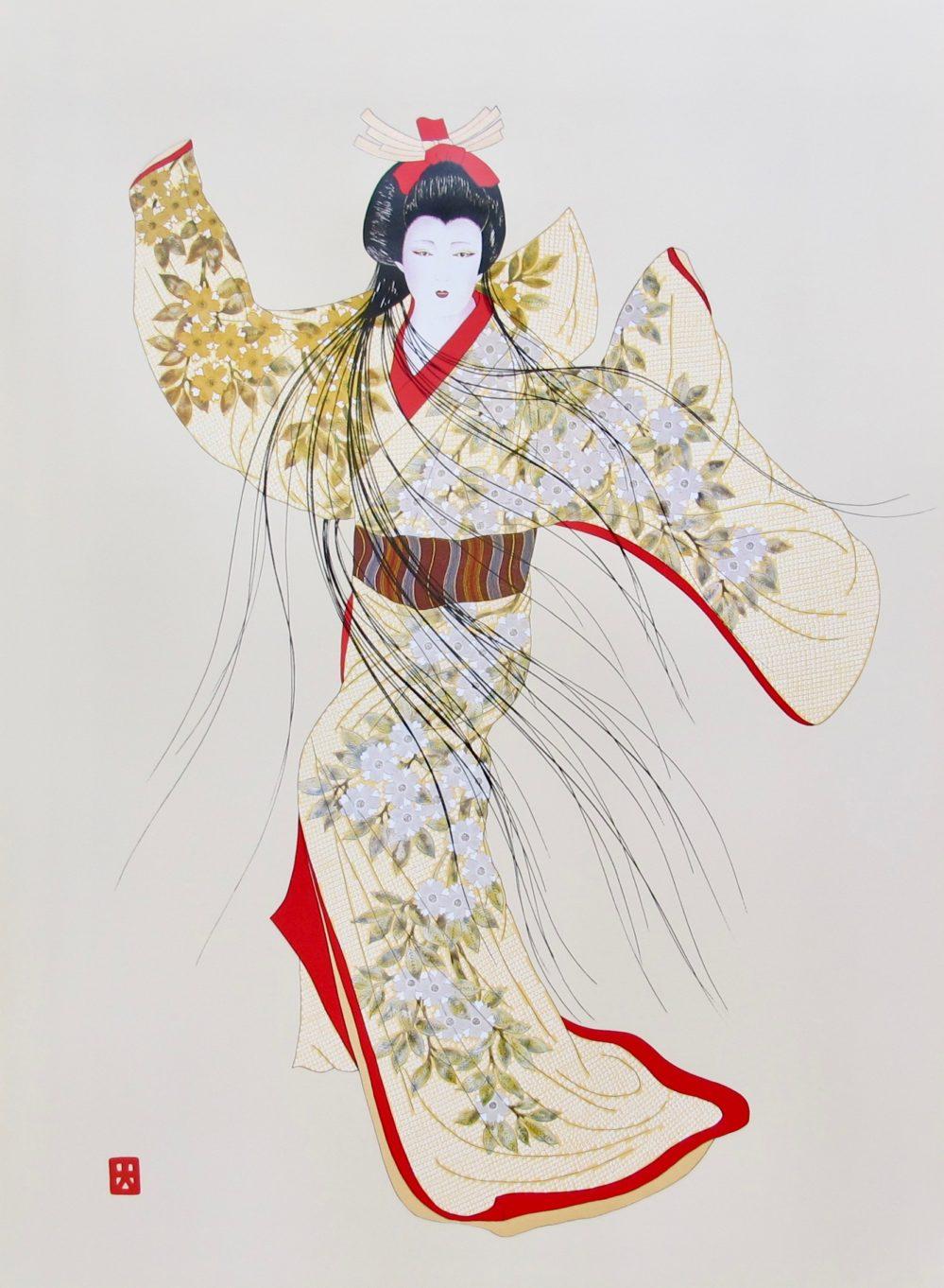 Hisashi Otsuka VISION OF ELEGANCE 1992 Plate Signed Art Pearl Silk & Gold Leaf
