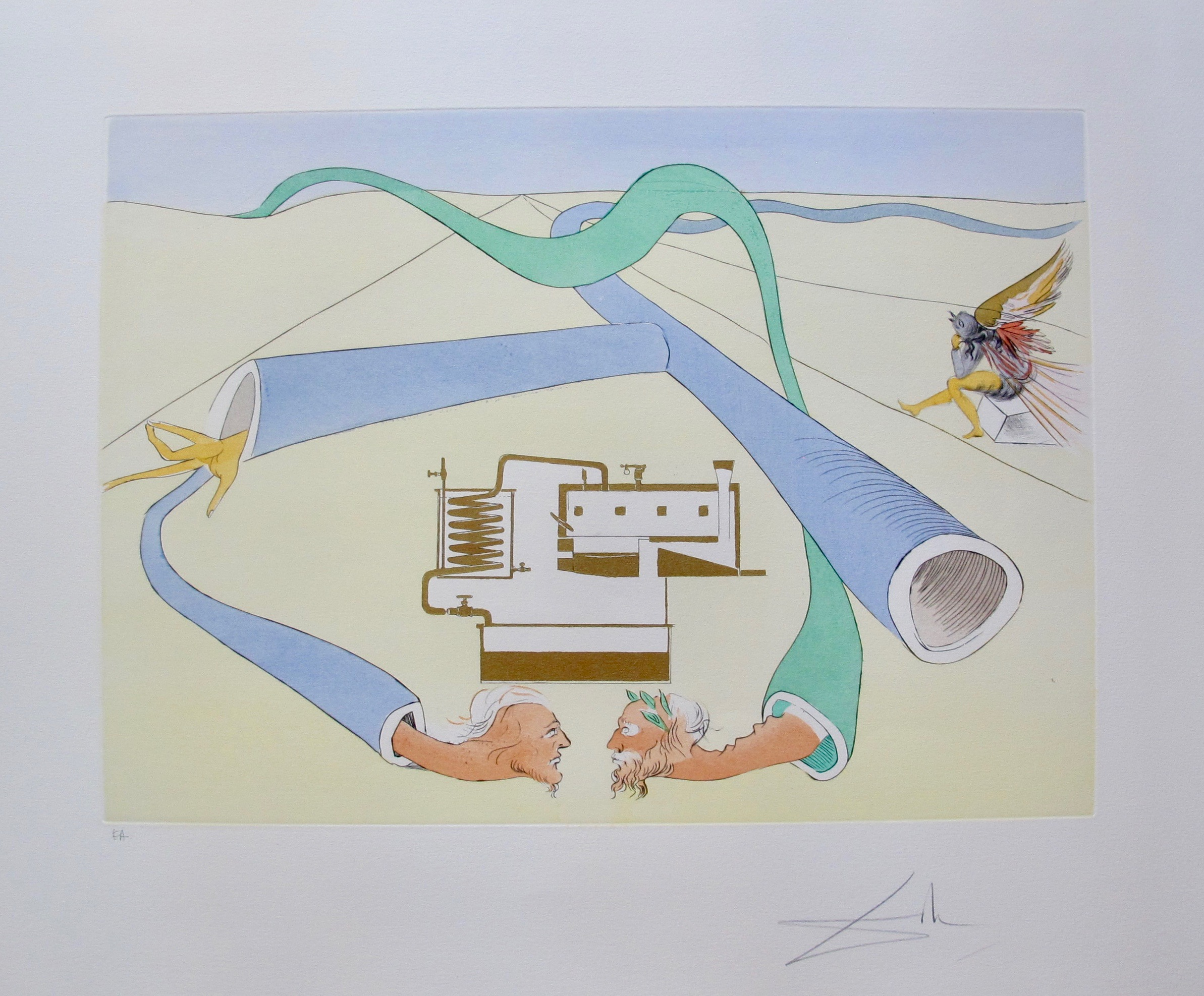 Salvador Dali 1975 Hand Signed Ltd Ed Etching Catalytic Cracker Great Inventions