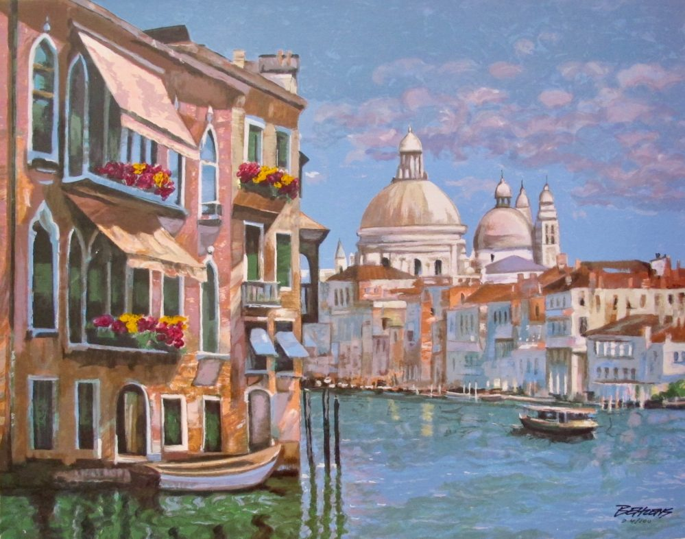 Howard Behrens HOTEL VENEZIA CANVAS Embellished Hand Signed L/E Serigraph