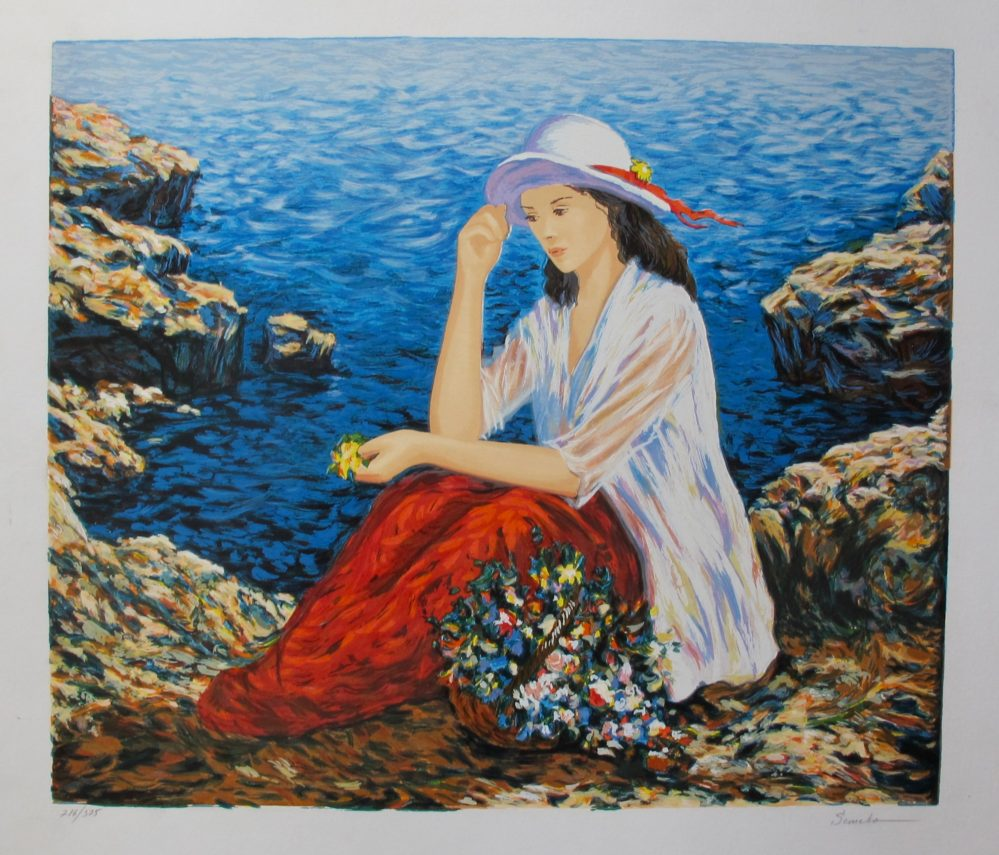 IGOR SEMEKO LADY BY THE CLIFFSIDE Hand Signed Limited Edition Serigraph