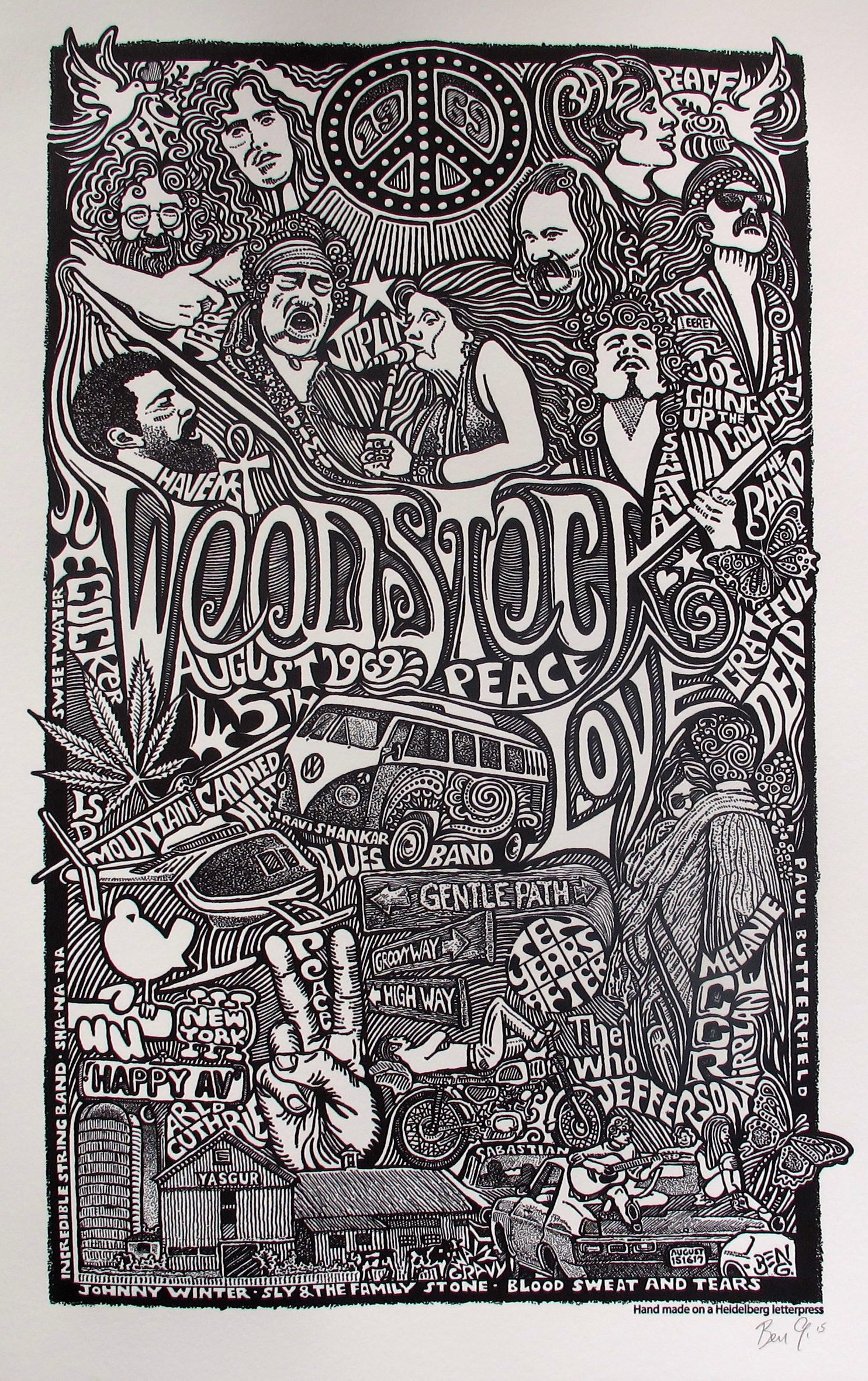 WOODSTOCK 1969 Psychedelic Hand Signed Posterography Letterpress ART