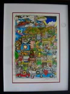 CHARLES FAZZINO LOONEY TUNES HOLLYWOOD Framed Hand Signed 3-D Serigraph
