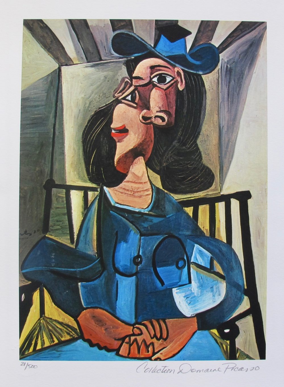 Pablo Picasso WOMAN WITH HAT SEATED IN ARMCHAIR Estate Signed Limited Edition Small Giclee