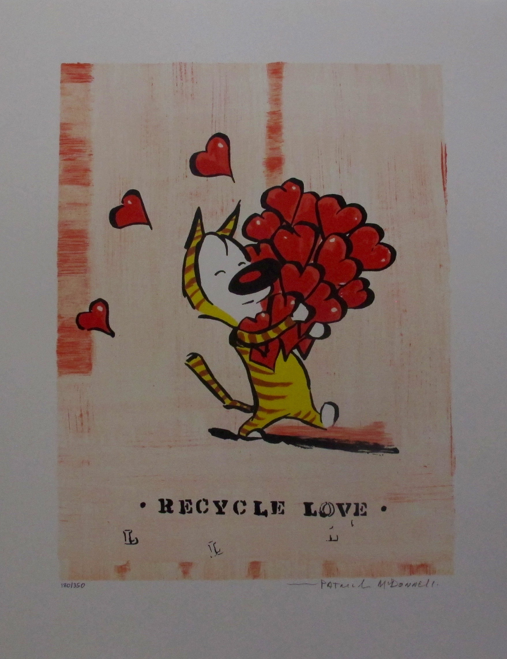 PATRICK MCDONNELL RECYCLE LOVE Hand Signed Limited Edition Lithograph