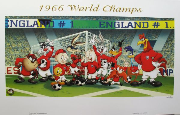 Looney Tunes 1966 WORLD SOCCER CHAMPS Limited Edition Lithograph