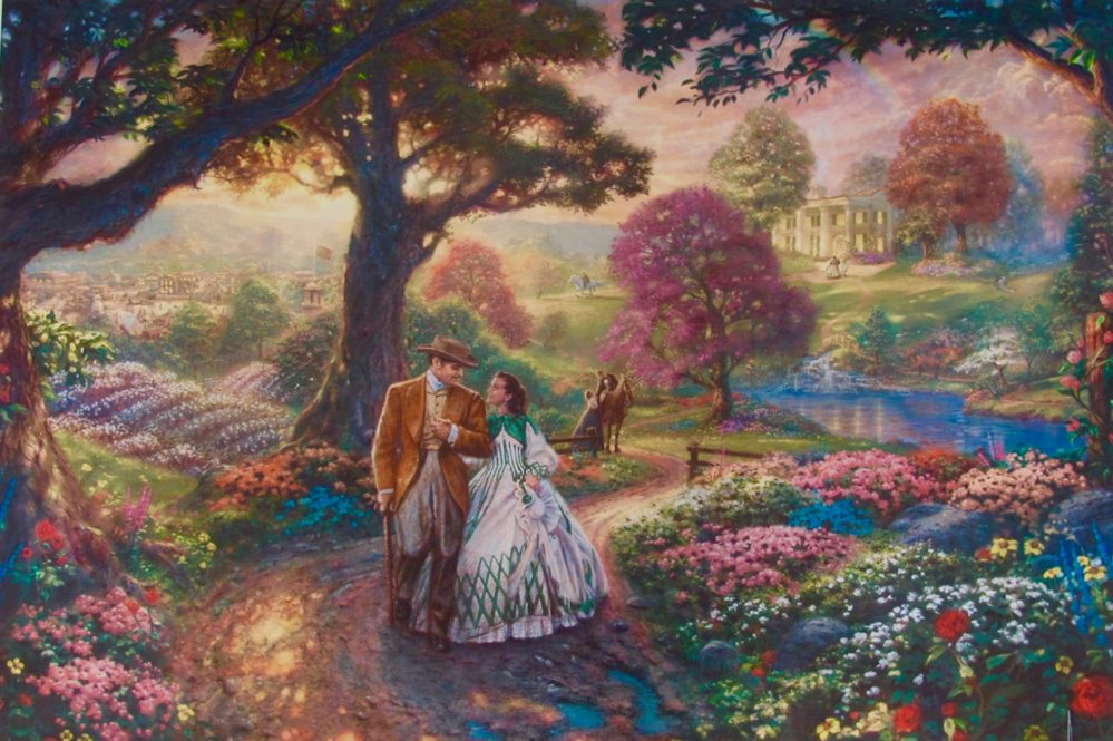 THOMAS KINKADE Gone with the Wind Giclee on Canvas