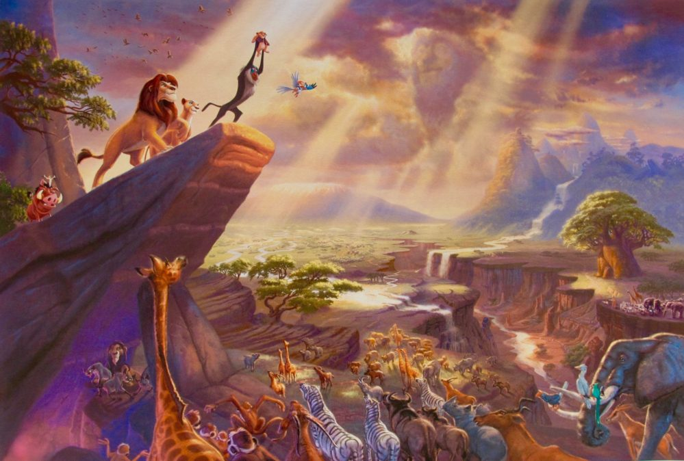 THOMAS KINKADE Lion King Giclee on Canvas