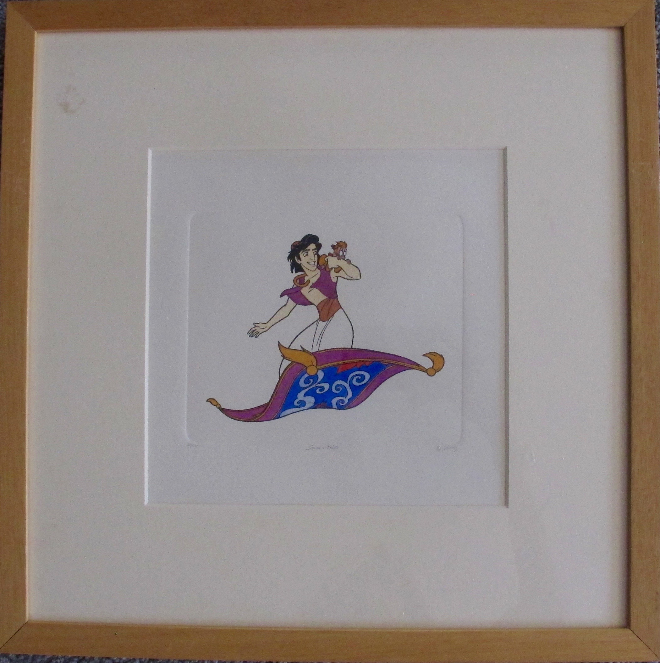 Disney ALADDIN MAGIC CARPET Large Handmade Etching