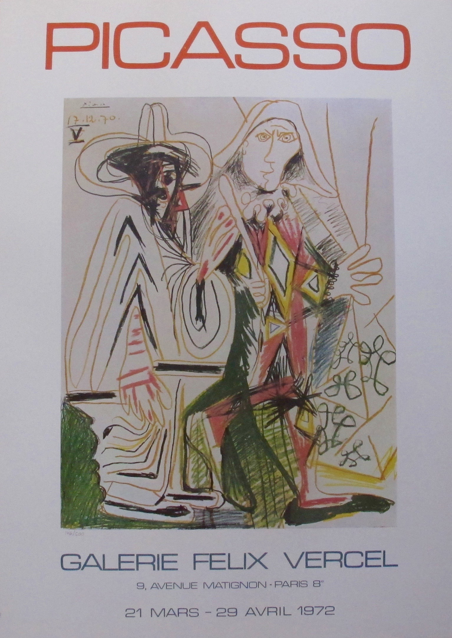 Pablo Picasso GALERIE FELIX VERCEL 1972 Plate Signed Limited Edition Lithograph