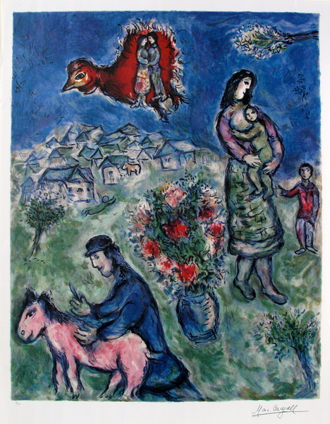 Marc Chagall SUR LA ROUTE DU VILLAGE Limited Edition Lithograph
