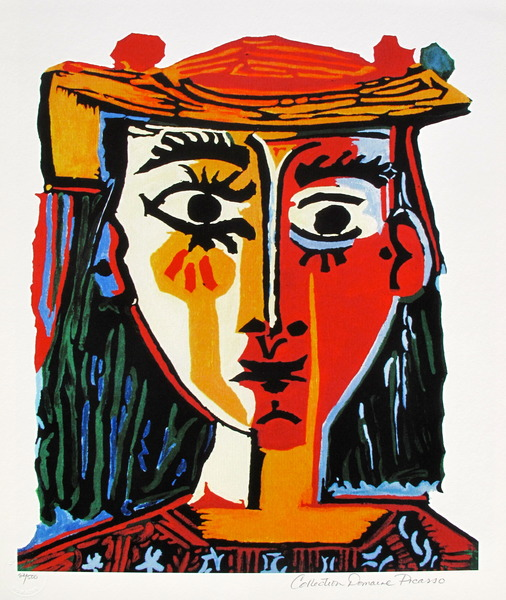 #74 BUST OF A WOMAN WITH HAT Pablo Picasso Estate Signed Giclee