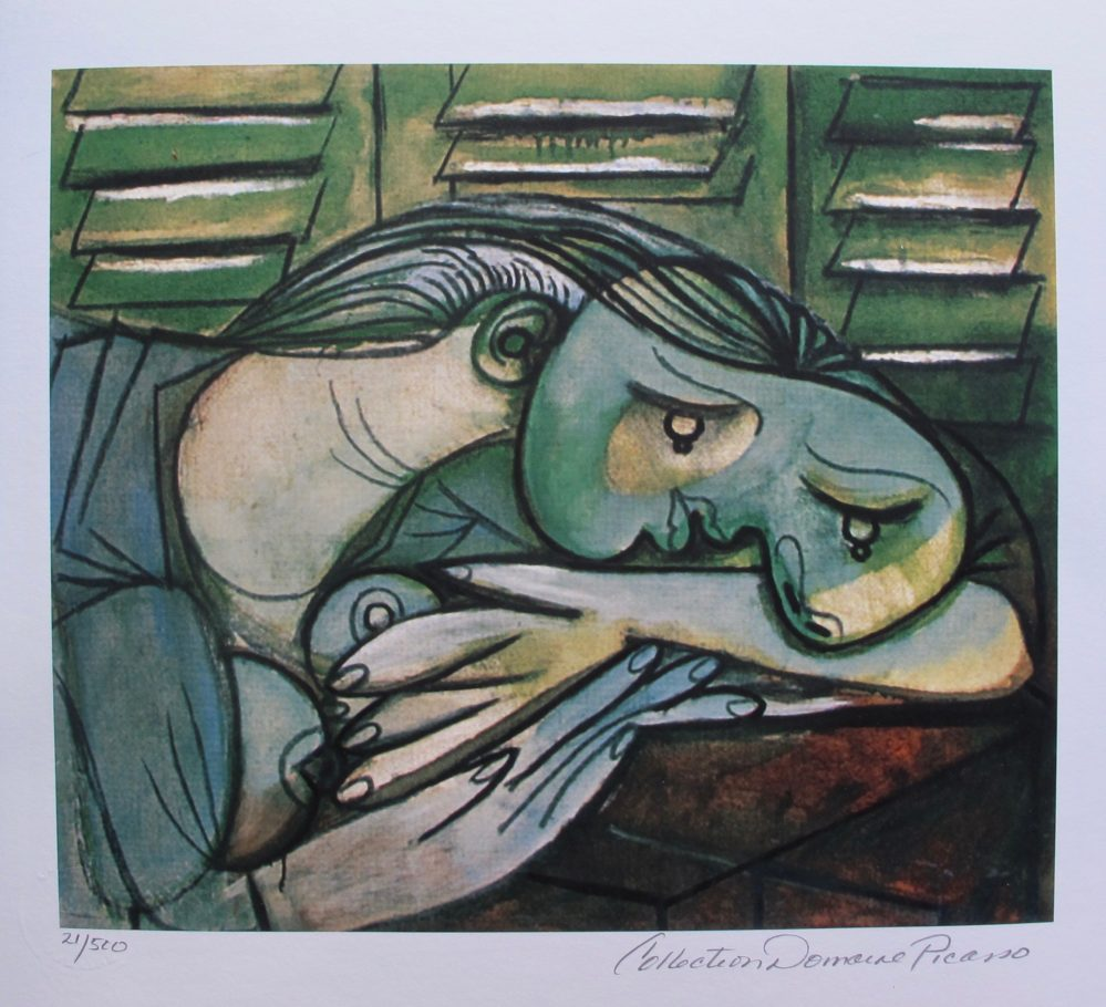 Pablo Picasso LADY WITH HEAD ON ARMS Estate Signed & Numbered Small Giclee Art