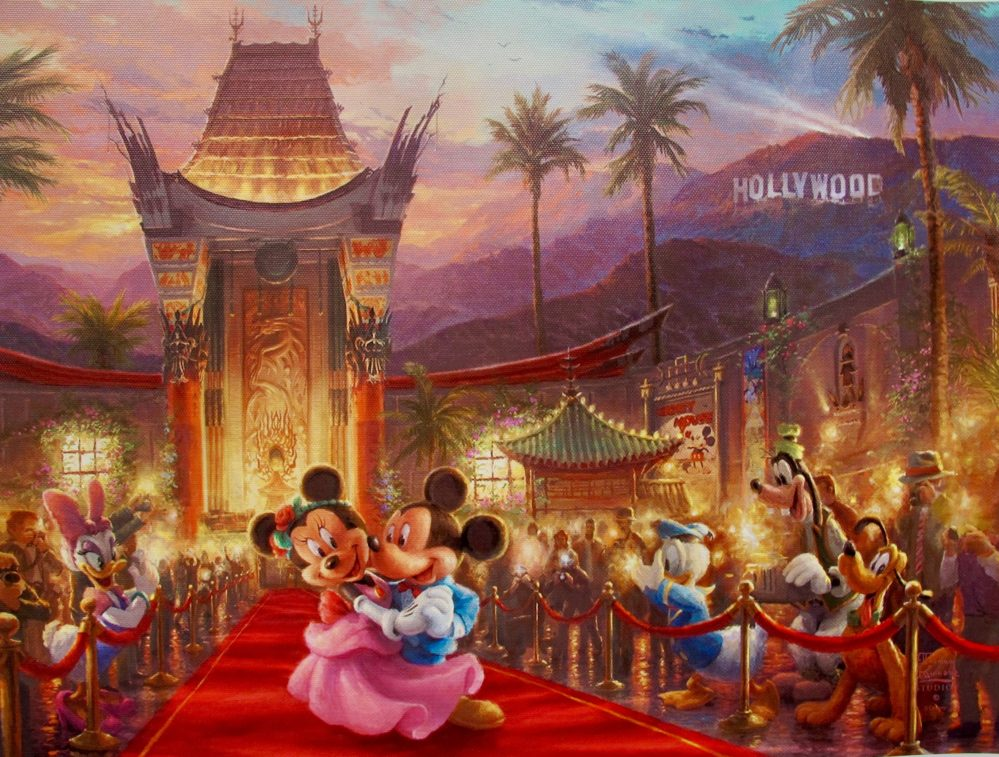 Thomas Kinkade Disney MICKEY MINNIE MOUSE IN HOLLYWOOD Giclee on Canvas