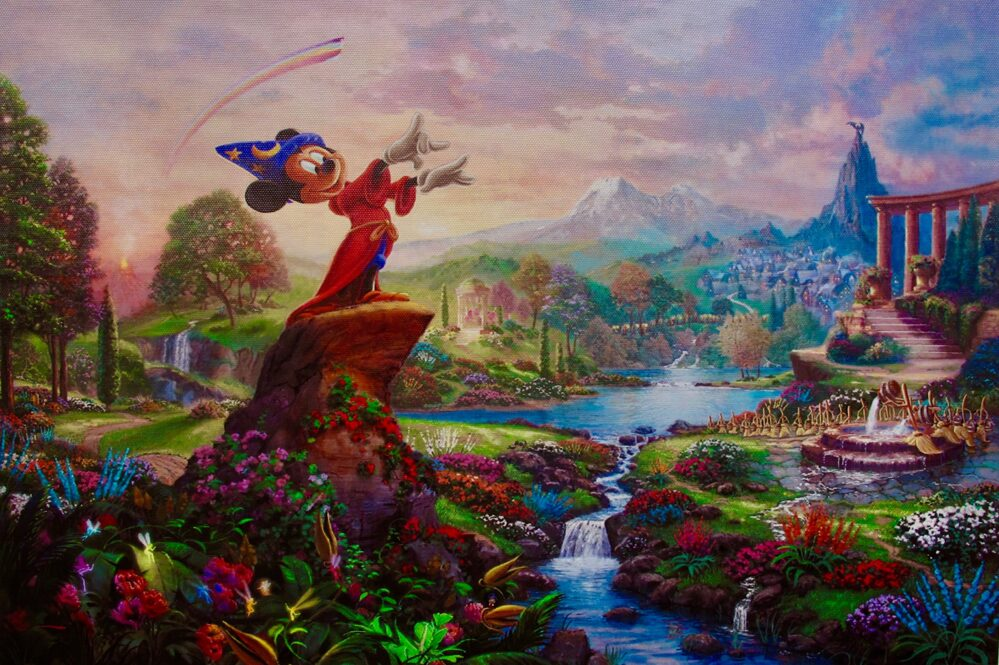 Thomas Kinkade Disney MICKEY MOUSE SORCERER FANTASIA Giclee on Canvas