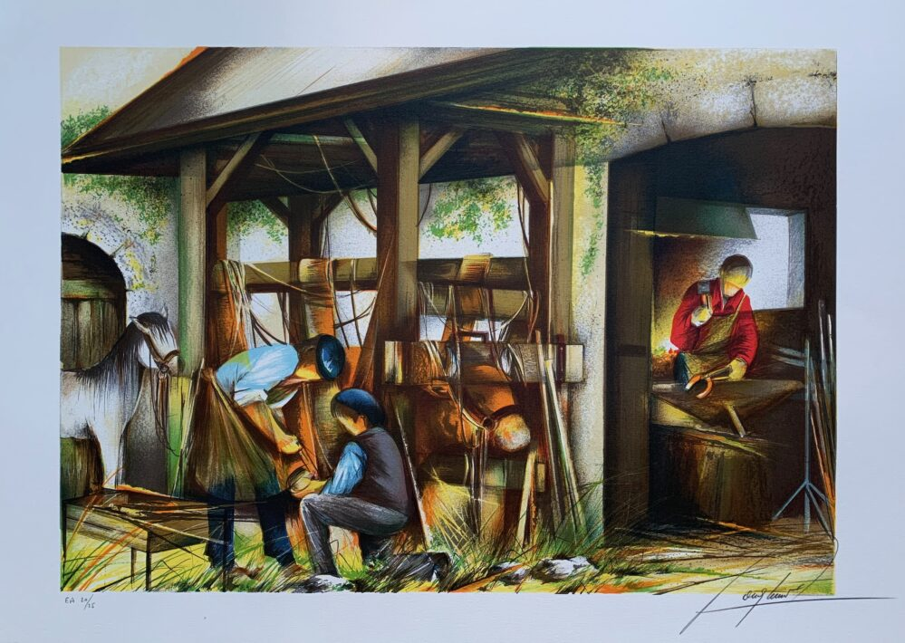 "RAYMOND POULET ""THRESHING"" Hand Signed Limited Edition Lithograph"