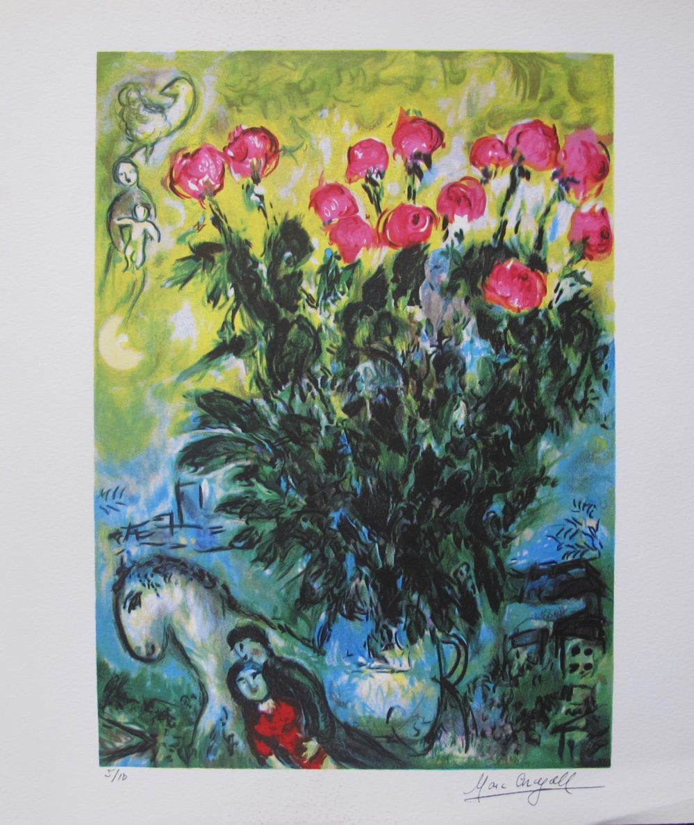 Marc Chagall LES ROSES Limited Edition Facsimile Signed X-Small Giclee