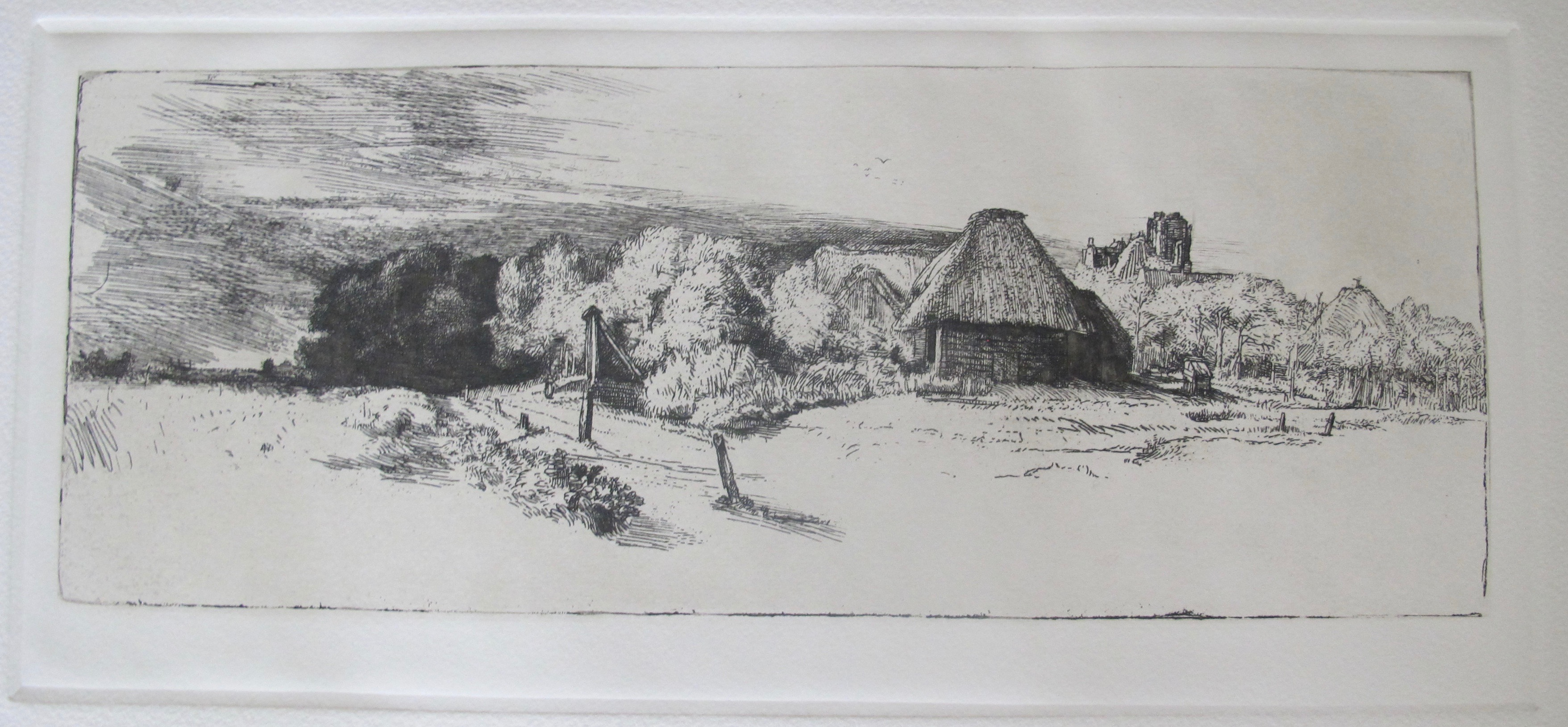 REMBRANDT LANDSCAPE WITH TREES FARM BUILDING & TOWER Etching by Amand Durand