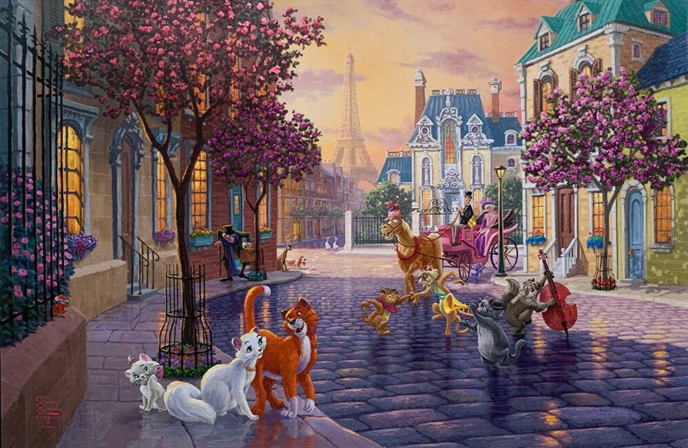 THOMAS KINKADE Aristocats Giclee on Canvas