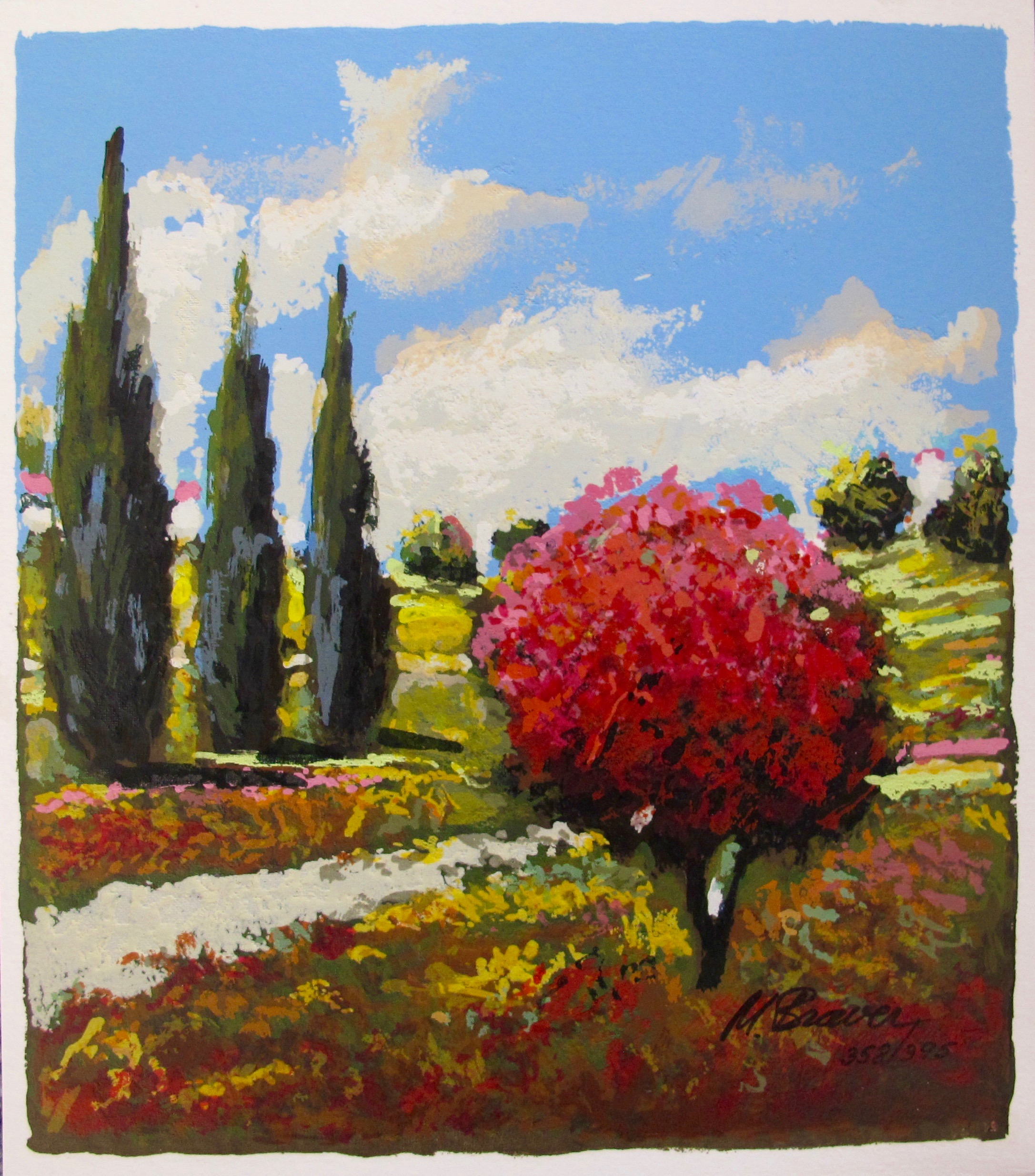 """MARK BRAVER """"THREE CYPRESS"""" Hand Signed Limited Edition Serigraph"""