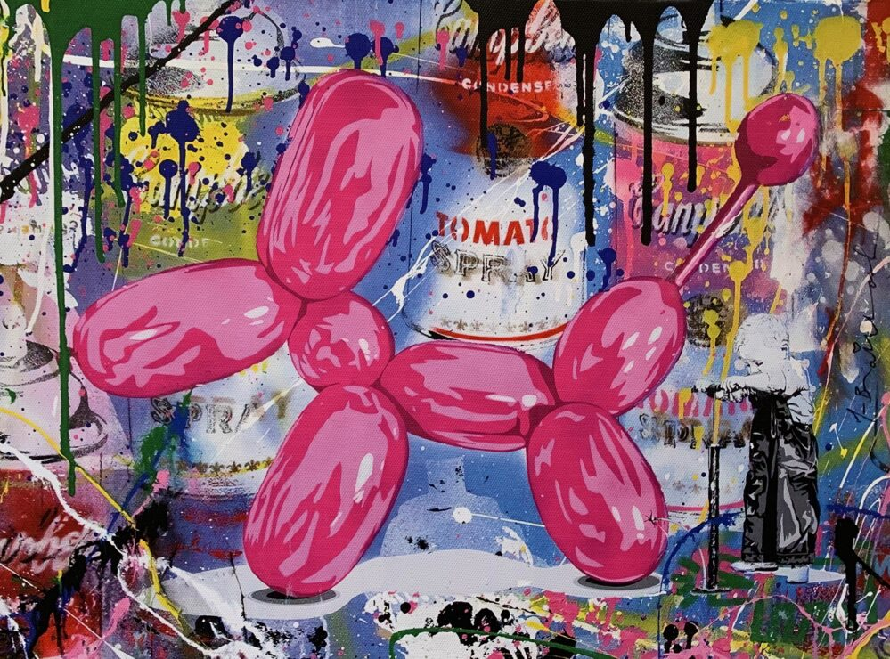 Jeff Koons Balloon Dog Animation Graffiti Pop Art Giclee on Canvas