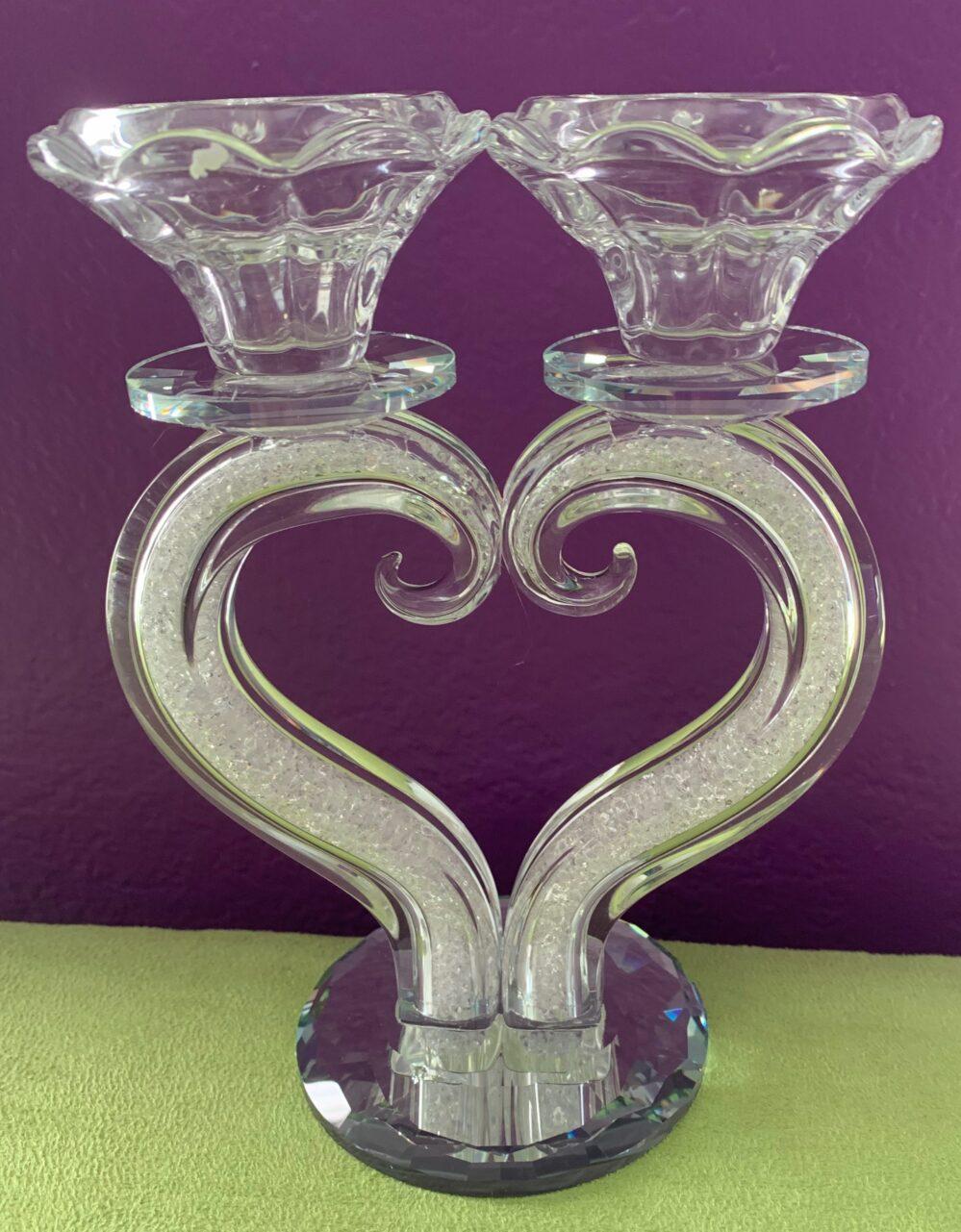 Swarovski Crystal Filled SABBATH CANDLE HOLDER Heart Shaped