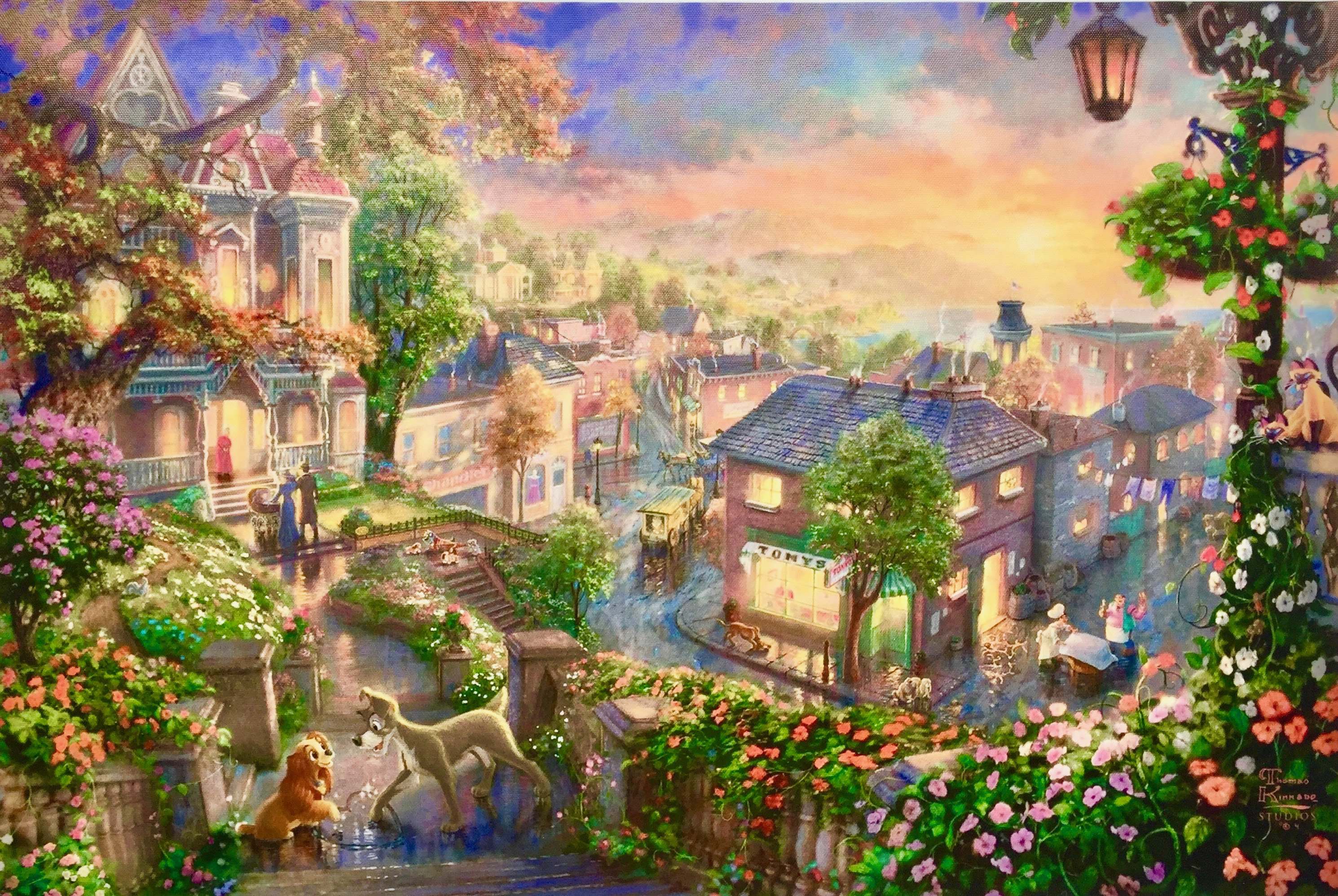 THOMAS KINKADE Lady and the Tramp Plate Signed Giclee on Canvas