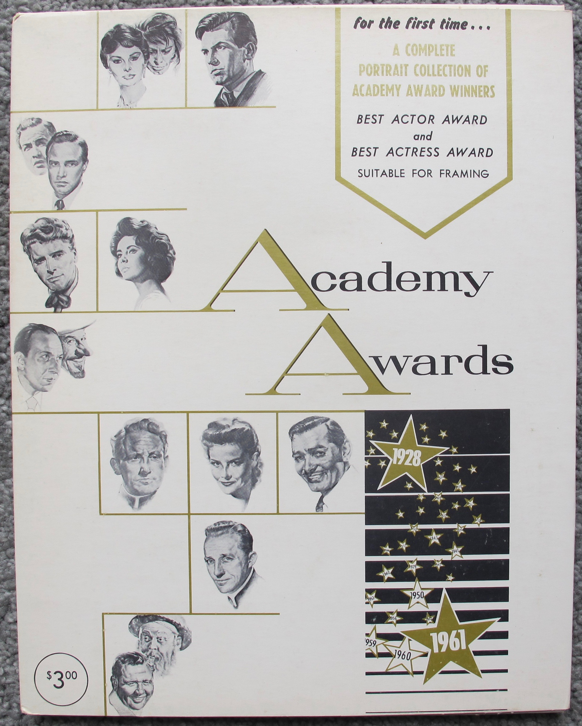Academy Awards Best Actor & Actress Portraits 1928 - 1961 by Nicholas Volpe Set of 69 Prints from Brown Derby