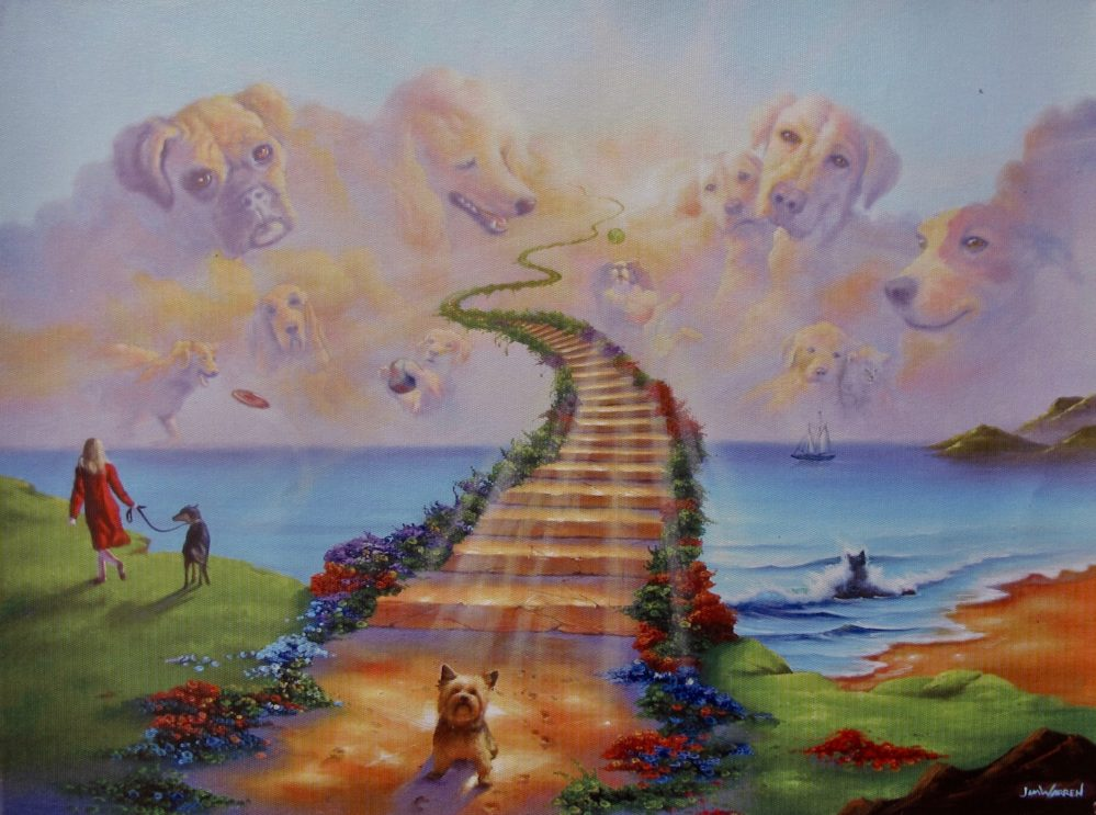 "JIM WARREN ""All Dogs go to Heaven"" Art Giclee on Canvas"