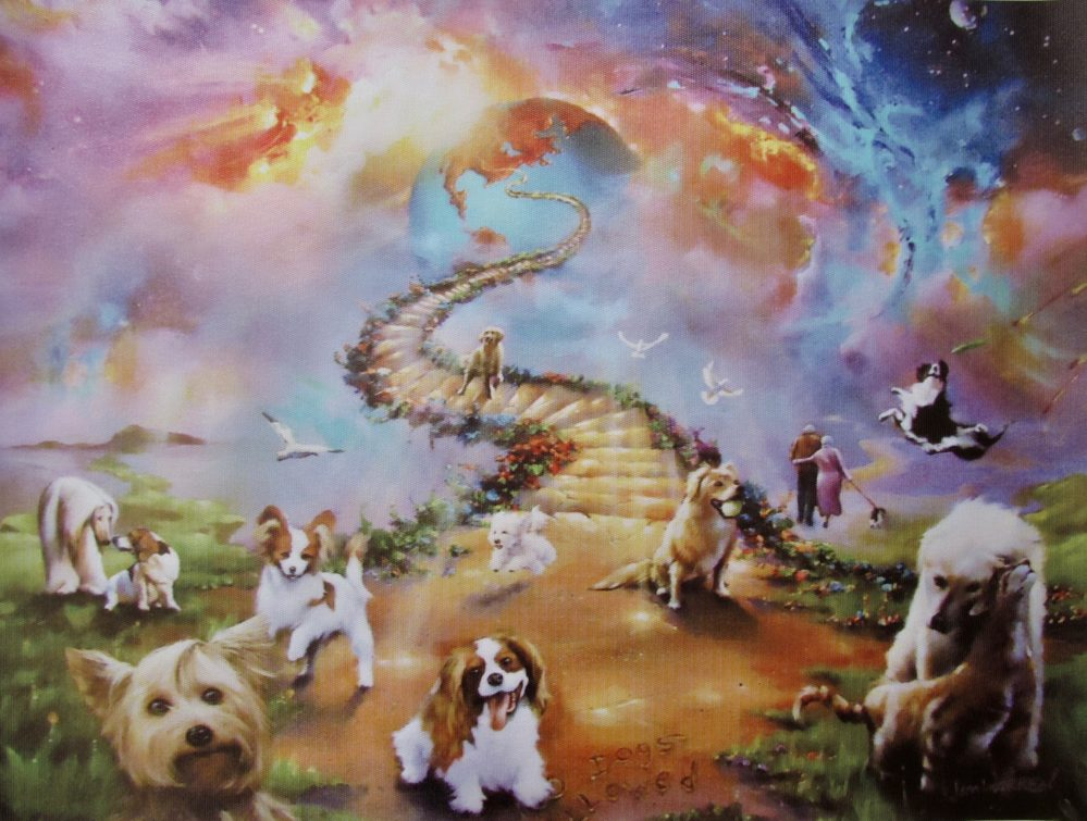 JIM WARREN All Dogs Go To Heaven Facsimile Signed Giclee Art on Canvas