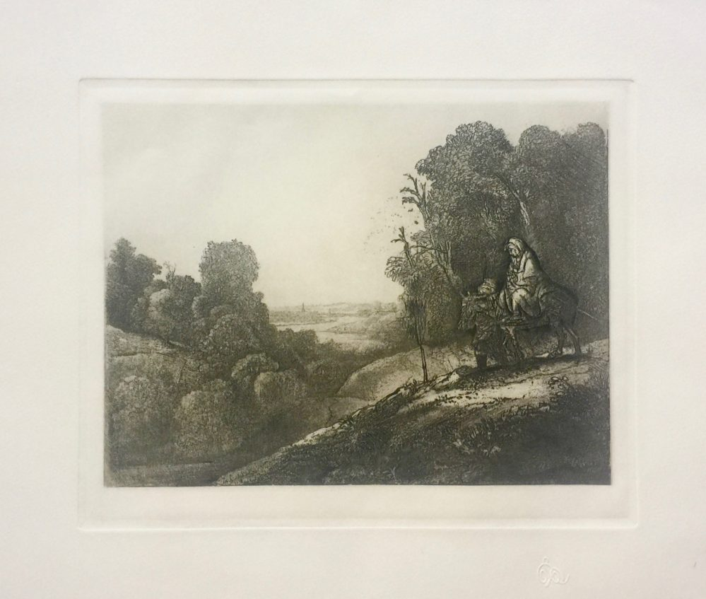 REMBRANDT THE FLIGHT INTO EYGPT Etching by Amand Durand