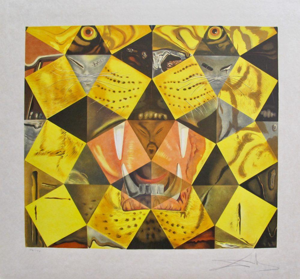 Salvador Dali LENIN TIGER Hand Signed Limited Edition Lithograph Art