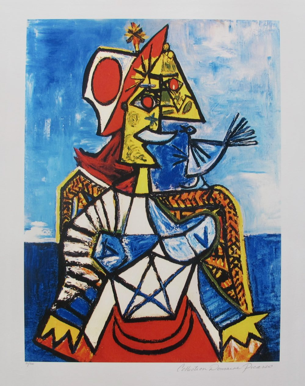 WOMAN WITH RED AND WHITE HAT Pablo Picasso Estate Signed Giclee