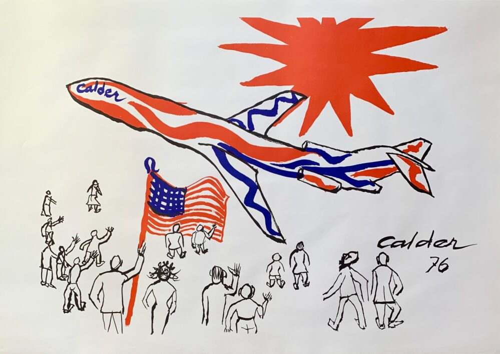 ALEXANDER CALDER Bicentennial 1976 Braniff Flying Colors Facsimile Signed Lithograph