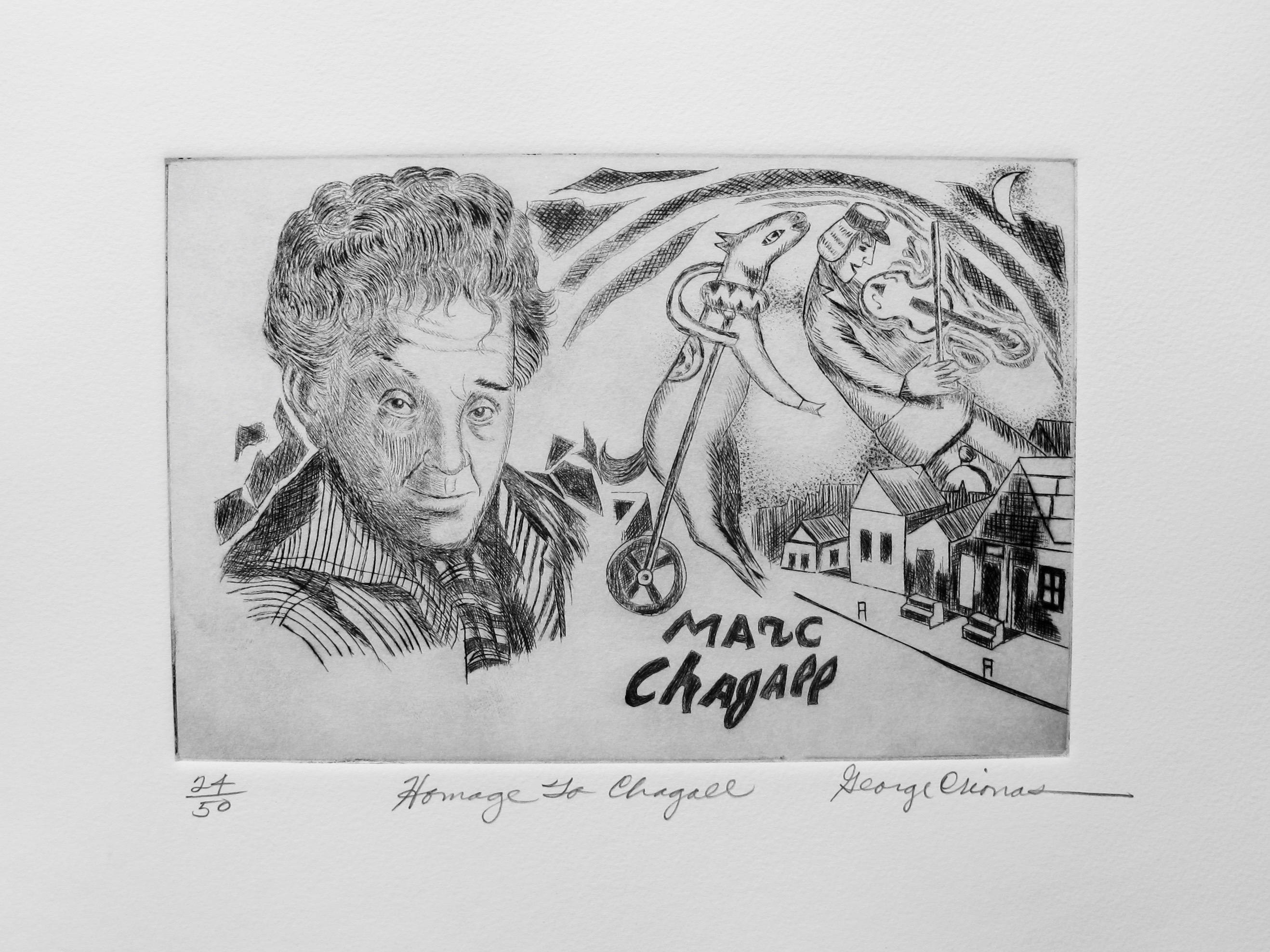 "GEORGE CRIONAS ""HOMAGE TO MARC CHAGALL"" Hand Signed Limited Edition Etching"
