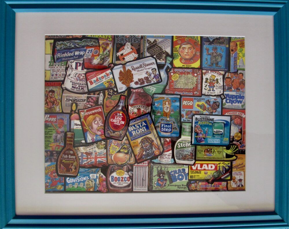 Topps Wacky Packages 1991 Sticker Lot Framed Collage Art