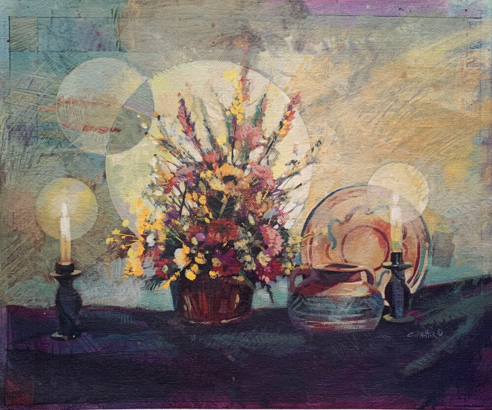 BOUQUET & CANDLES Hand Signed Original Canvas Oil Painting