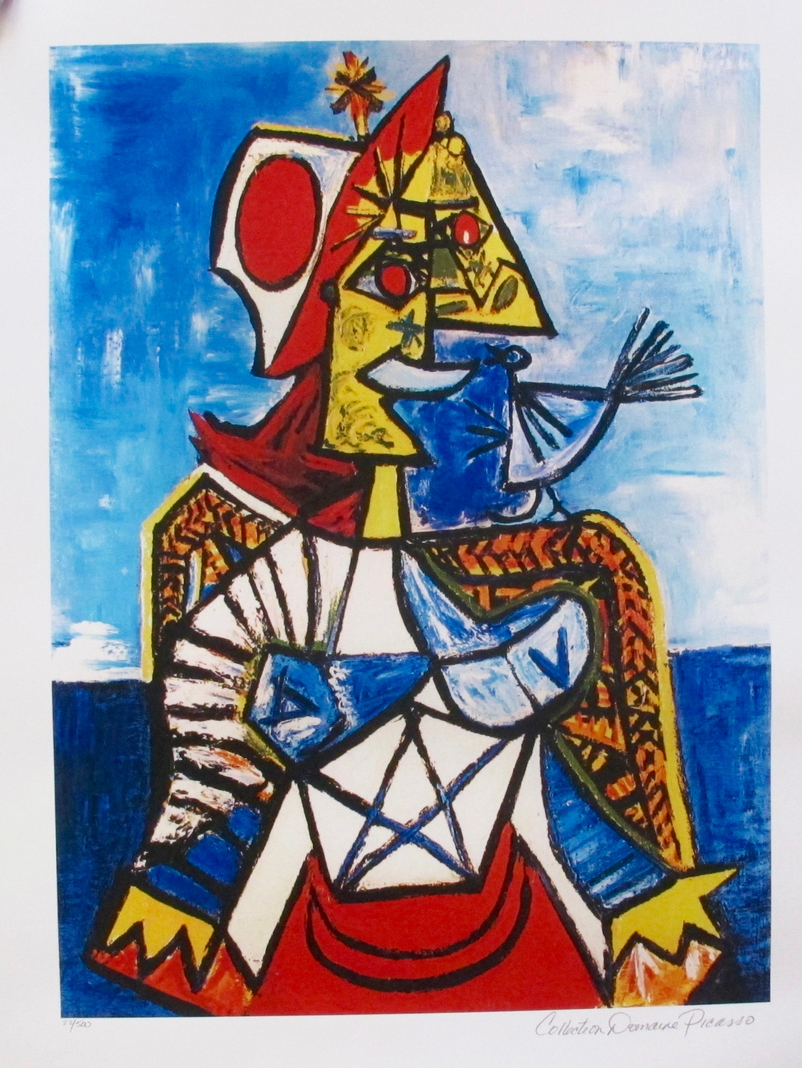 #097 WOMAN WITH RED AND WHITE HAT Pablo Picasso Estate Signed Giclee