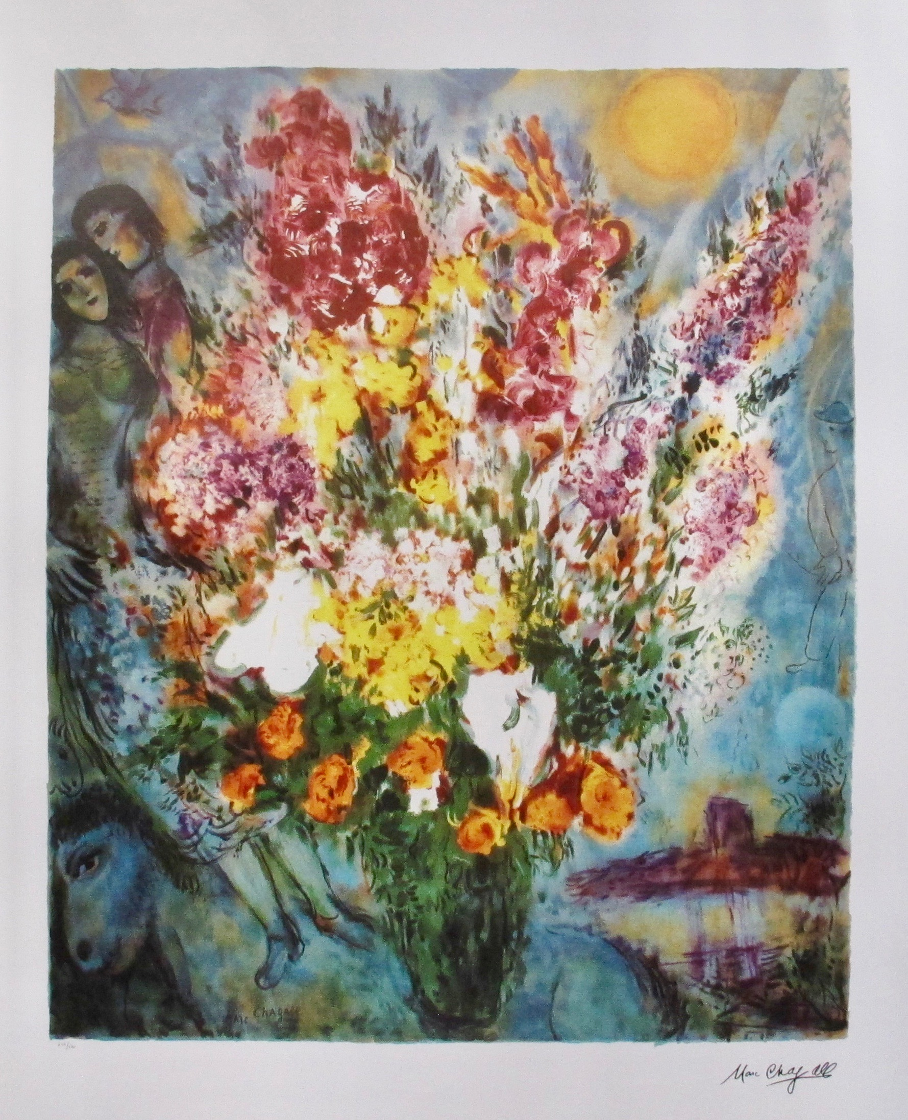 Marc Chagall ORIGINAL BOUQUET Limited Edition Facsimile Signed Lithograph