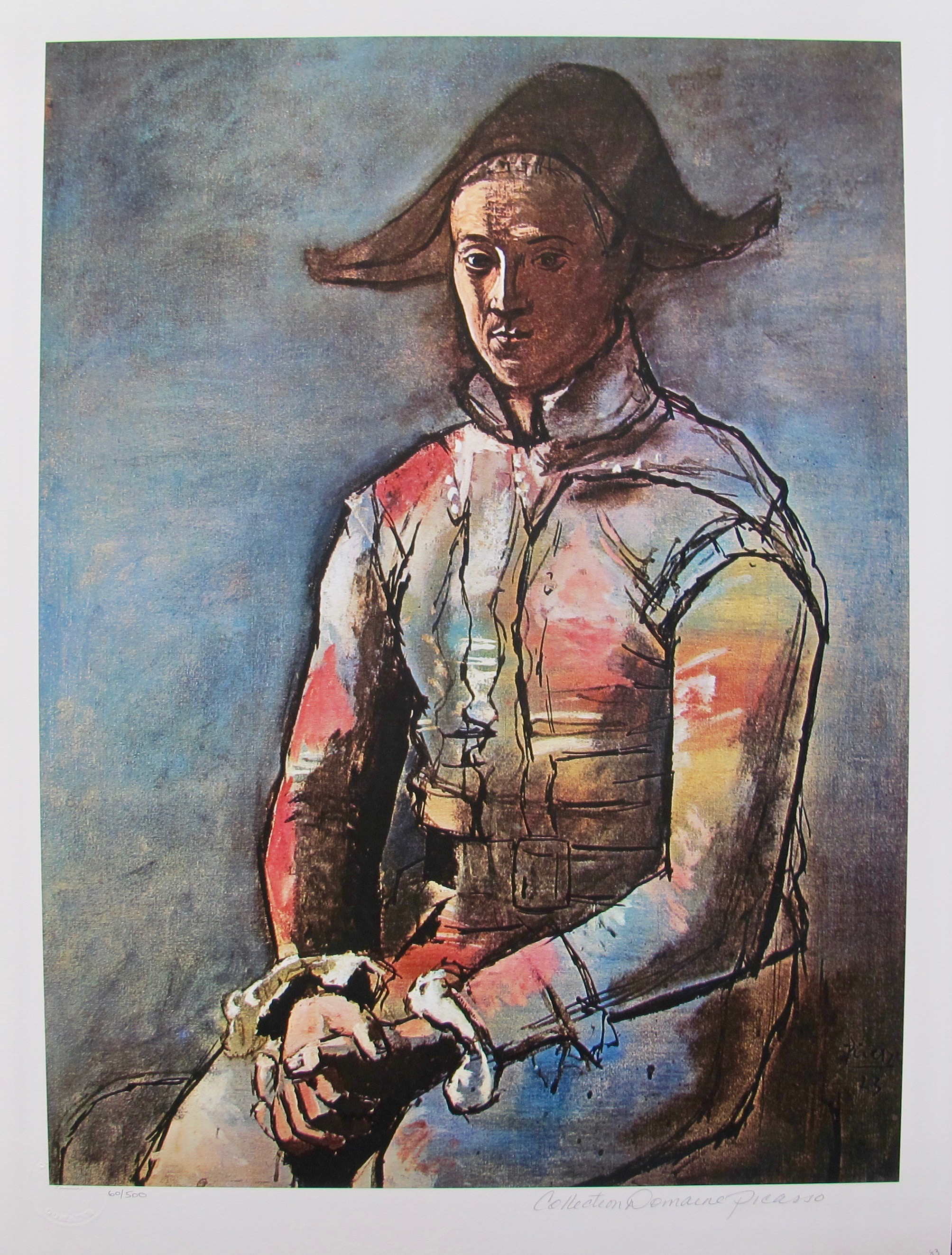 #083 SEATED HARLEQUIN Pablo Picasso Estate Signed Giclee