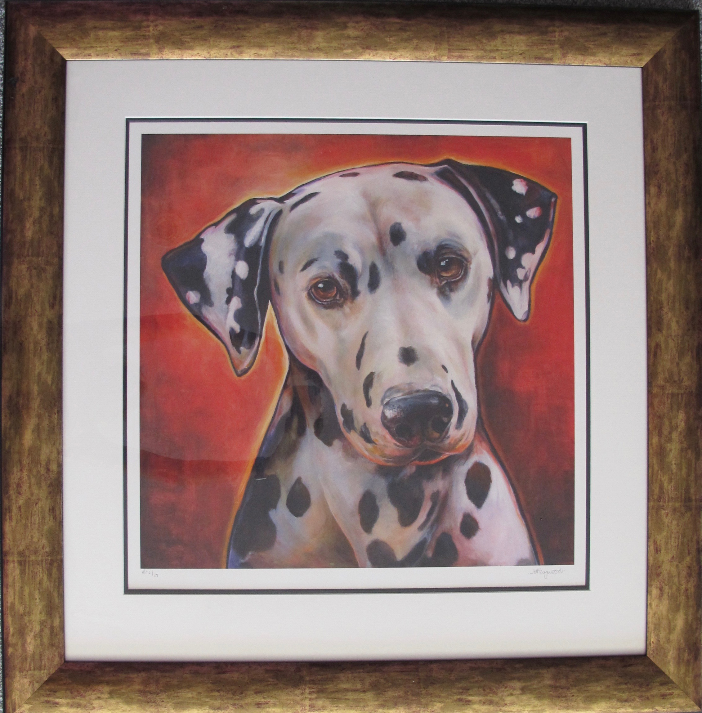 MANDIE HAYWOOD MISS SCARLET Hand Signed Framed Ltd Edition Giclee Dalmation Art