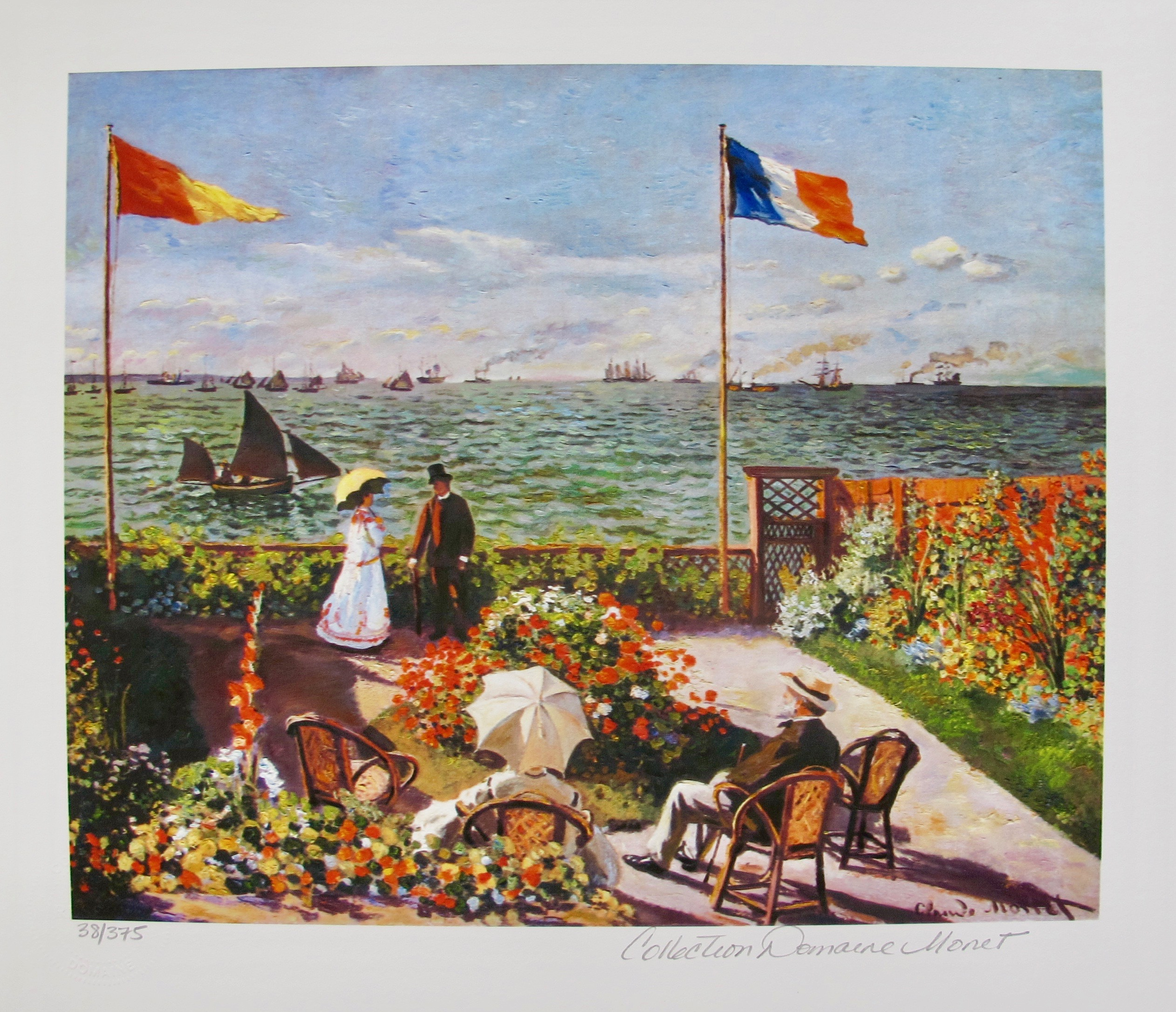 Claude Monet TERRACE BY THE SEASIDE Estate Signed & Stamped Limited Edition Small Giclee