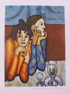 #63 PAUL AS HARLEQUIN AND HIS COMPANION Pablo Picasso Estate Signed Giclee