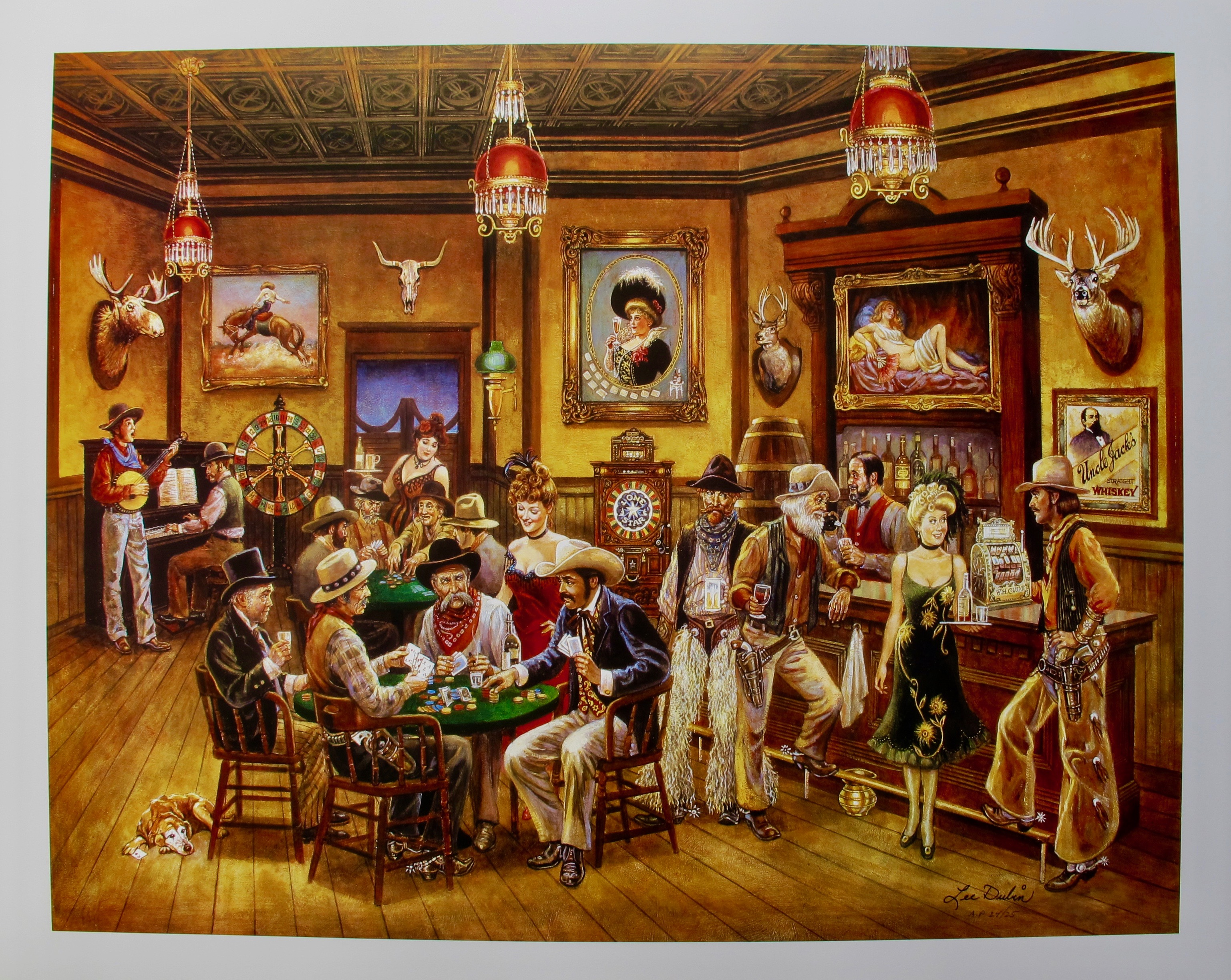 Lee Dubin POKER SALOON Hand Signed Limited Edition Lithograph