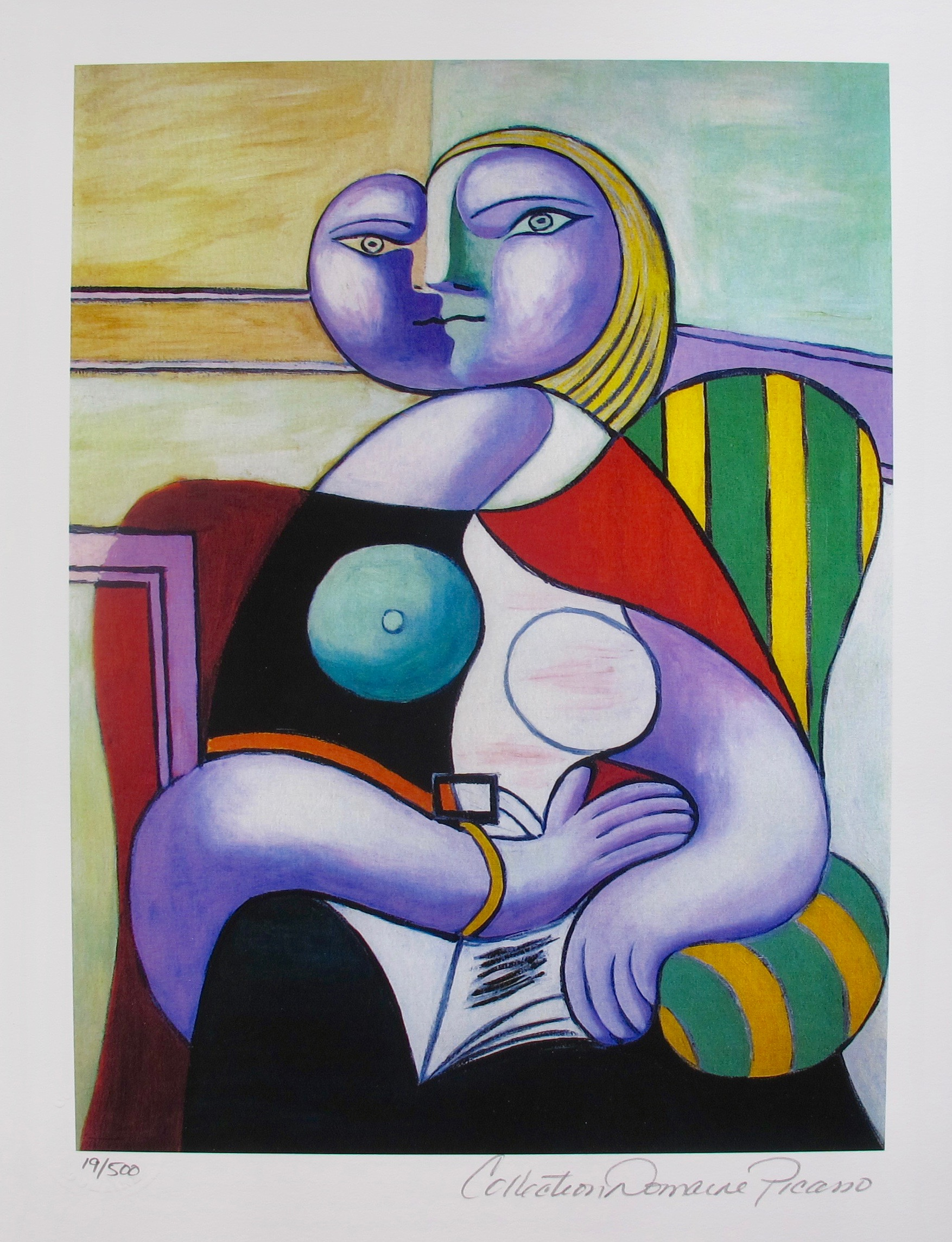 Pablo Picasso LADY IN GREEN STRIPED CHAIR Estate Signed Limited Edition Small Giclee