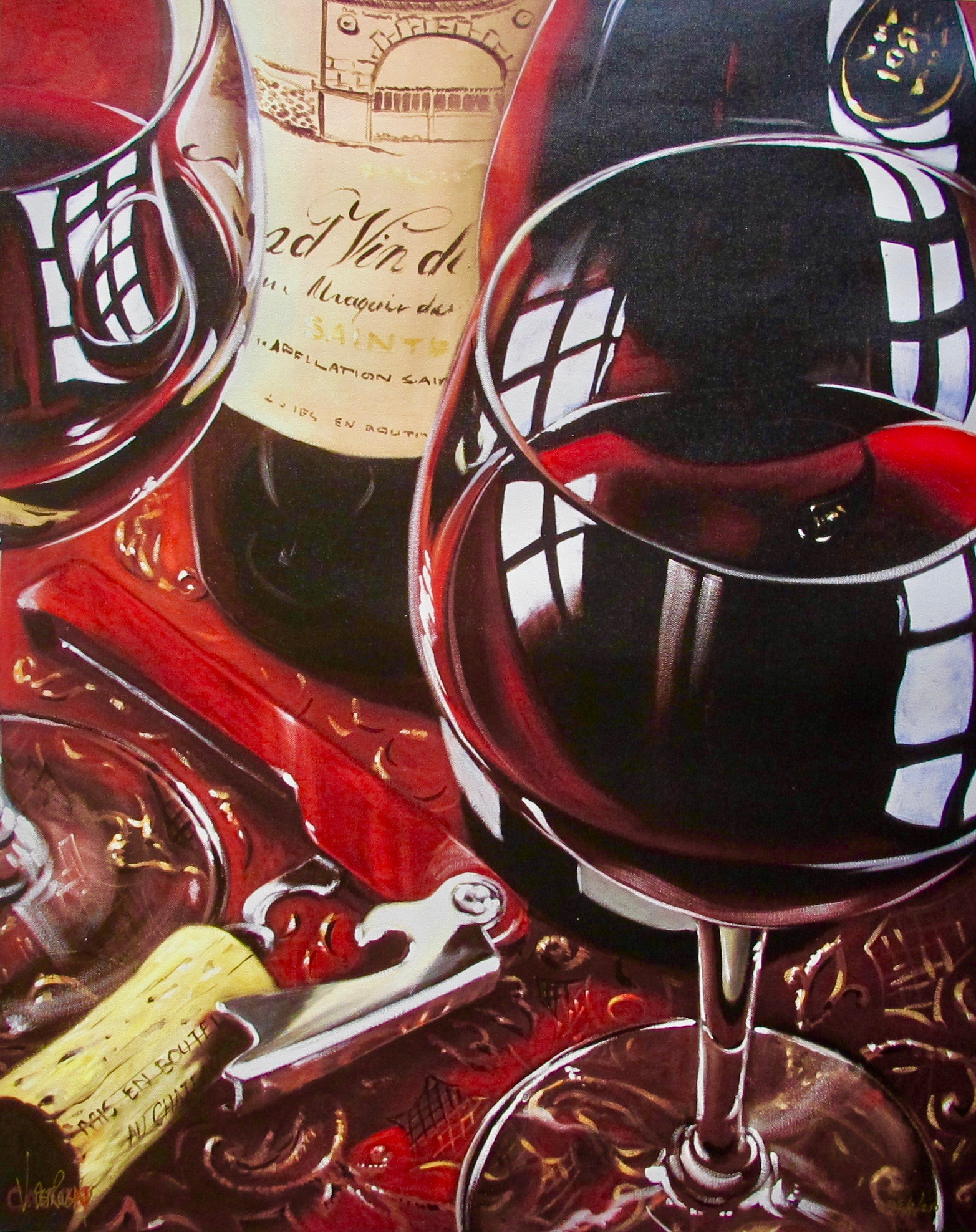 Victor Ostrovsky SIMPLY RED Hand Signed Limited Edition Giclee on Canvas