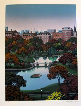 Jim Buckels BOSTON PUBLIC GARDEN Hand Signed Limited Edition Lithograph