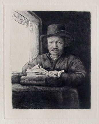 Rembrandt SELF PORTRAIT DRAWING AT WINDOW Plate Signed Etching