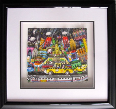 "CHARLES FAZZINO ""SAM DOES NYC"" Framed Hand Signed 3-D Serigraph NEW YORK CITY"