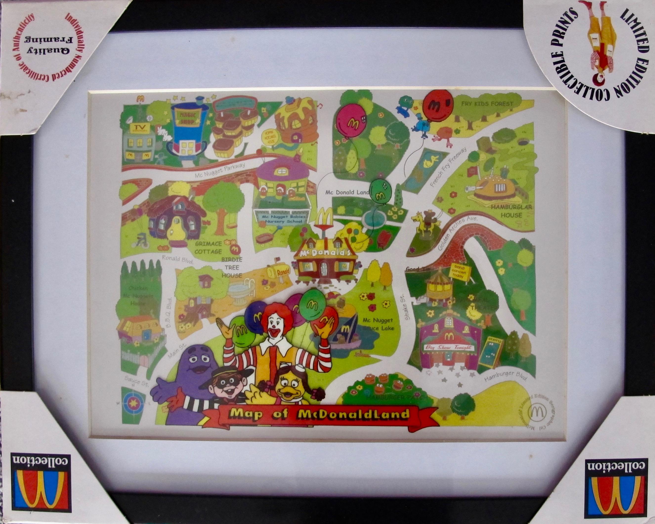 McDonald's 1998 Framed McDonaldland Map Sericel Animation Cel RARE COLLECTIBLE!