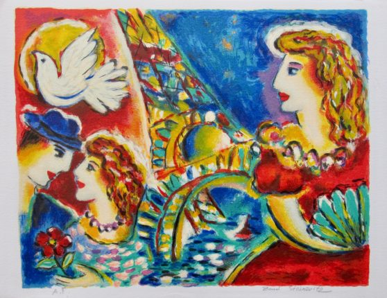 ZAMY STEYNOVITZ LOVERS AT THE EIFFEL TOWER Hand Signed Limited Edition Serigraph